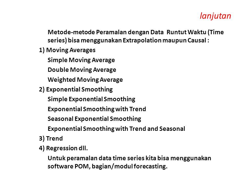 lanjutan Metode-metode Peramalan dengan Data Runtut Waktu (Time series) bisa menggunakan Extrapolation maupun Causal : 1) Moving Averages Simple Movin