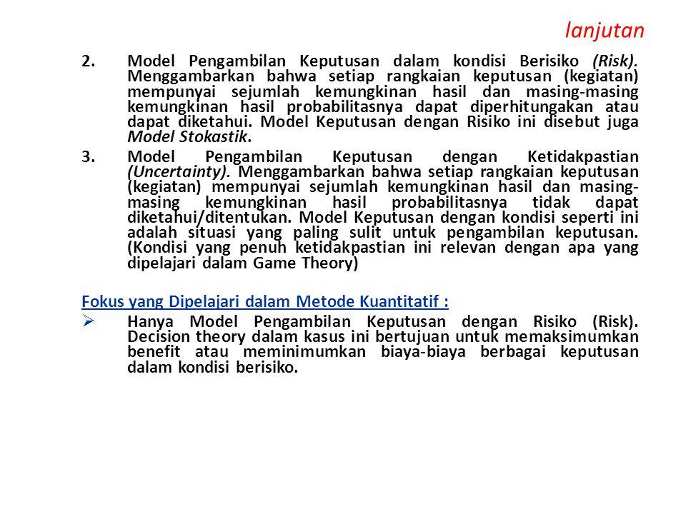 lanjutan 2.Model Pengambilan Keputusan dalam kondisi Berisiko (Risk). Menggambarkan bahwa setiap rangkaian keputusan (kegiatan) mempunyai sejumlah kem