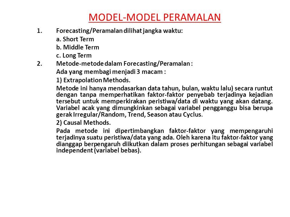 MODEL-MODEL PERAMALAN 1.Forecasting/Peramalan dilihat jangka waktu: a. Short Term b. Middle Term c. Long Term 2.Metode-metode dalam Forecasting/Perama
