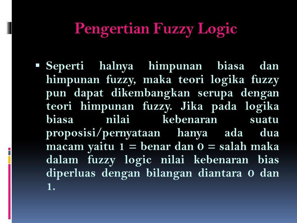 Pengertian Fuzzy Logic (2)  Salah satu contoh fuzzy logic adalah dengan menambahkan nilai kebenaran ½ disamping nilai kebenaran 0 dan 1.
