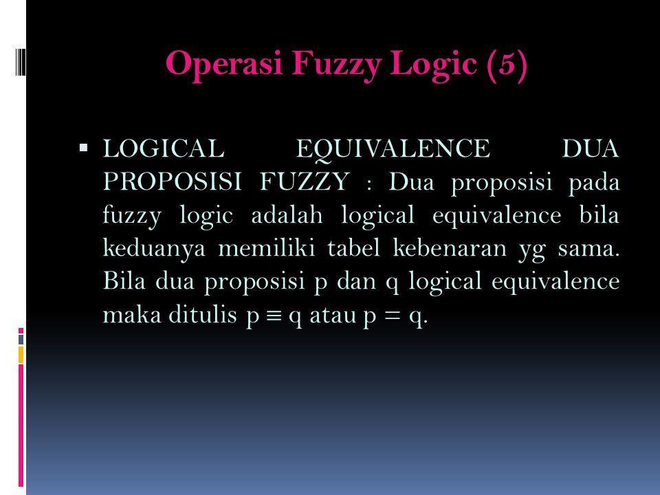 Operasi Fuzzy Logic (5)  LOGICAL EQUIVALENCE DUA PROPOSISI FUZZY : Dua proposisi pada fuzzy logic adalah logical equivalence bila keduanya memiliki t