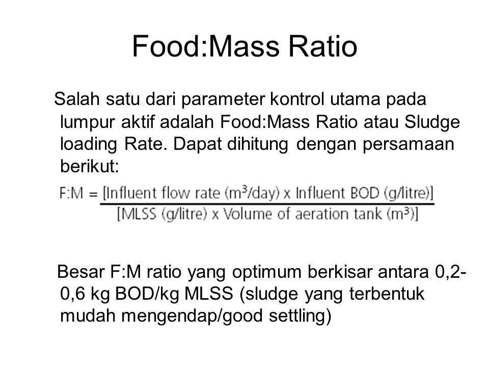 Food:Mass Ratio Salah satu dari parameter kontrol utama pada lumpur aktif adalah Food:Mass Ratio atau Sludge loading Rate. Dapat dihitung dengan persa