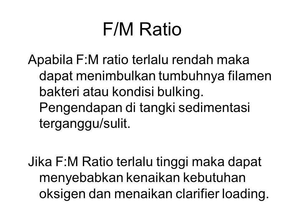 F/M Ratio Apabila F:M ratio terlalu rendah maka dapat menimbulkan tumbuhnya filamen bakteri atau kondisi bulking. Pengendapan di tangki sedimentasi te