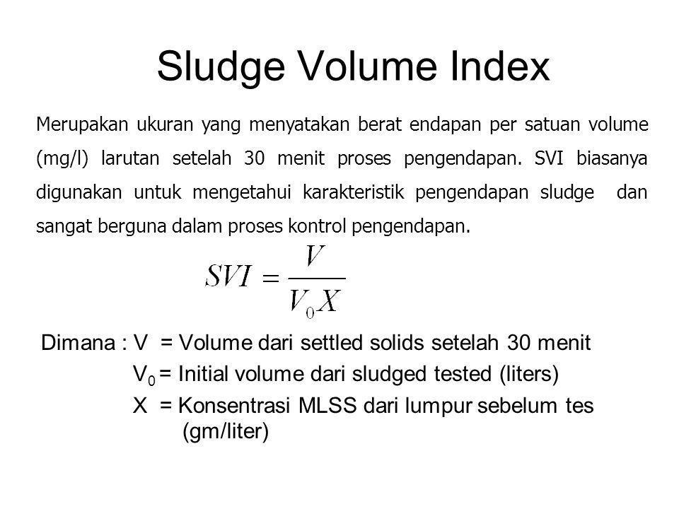 Sludge Volume Index Dimana : V = Volume dari settled solids setelah 30 menit V 0 = Initial volume dari sludged tested (liters) X = Konsentrasi MLSS da