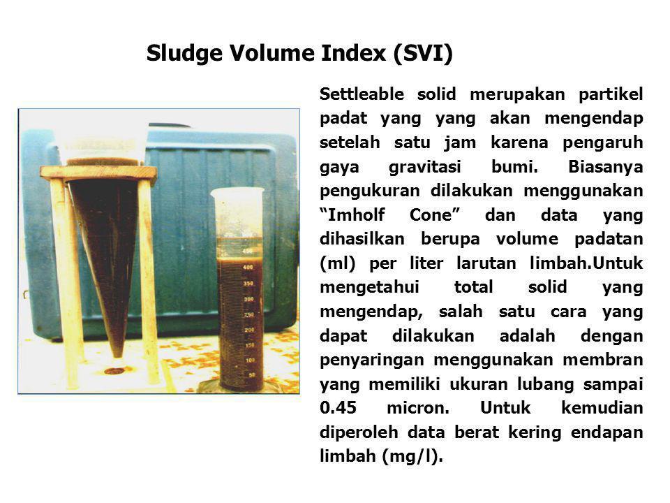 Sludge Volume Index (SVI) Settleable solid merupakan partikel padat yang yang akan mengendap setelah satu jam karena pengaruh gaya gravitasi bumi. Bia