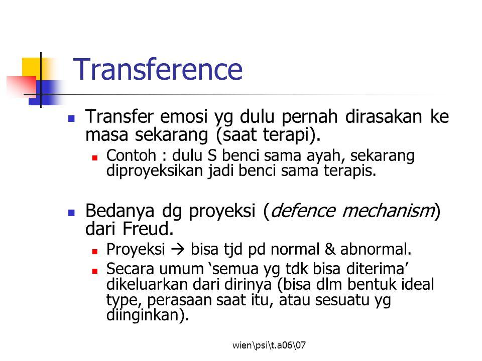 wien\psi\t.a06\07 Transference Transfer emosi yg dulu pernah dirasakan ke masa sekarang (saat terapi). Contoh : dulu S benci sama ayah, sekarang dipro