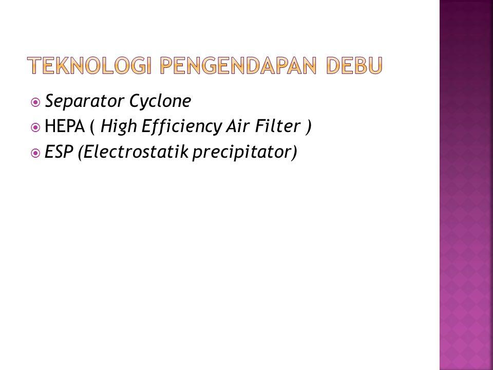  Separator Cyclone  HEPA ( High Efficiency Air Filter )  ESP (Electrostatik precipitator)