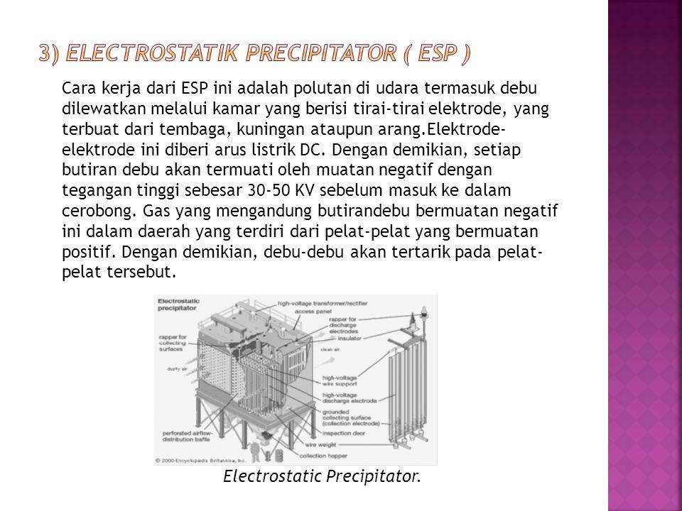 Cara kerja dari ESP ini adalah polutan di udara termasuk debu dilewatkan melalui kamar yang berisi tirai-tirai elektrode, yang terbuat dari tembaga, k