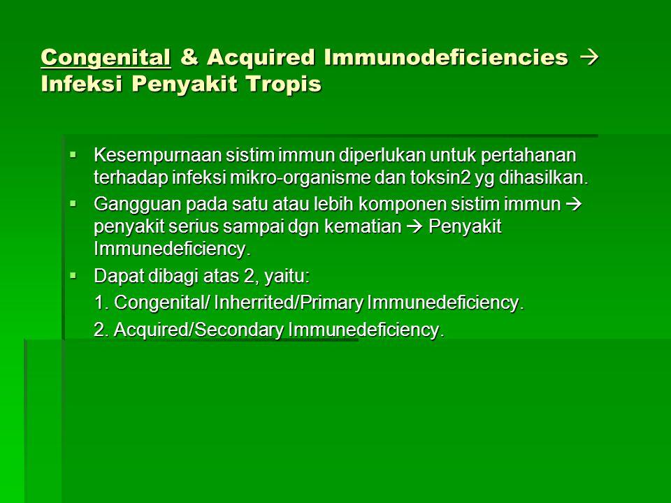 Congenital & Acquired Immunodeficiencies  Infeksi Penyakit Tropis  Kesempurnaan sistim immun diperlukan untuk pertahanan terhadap infeksi mikro-orga