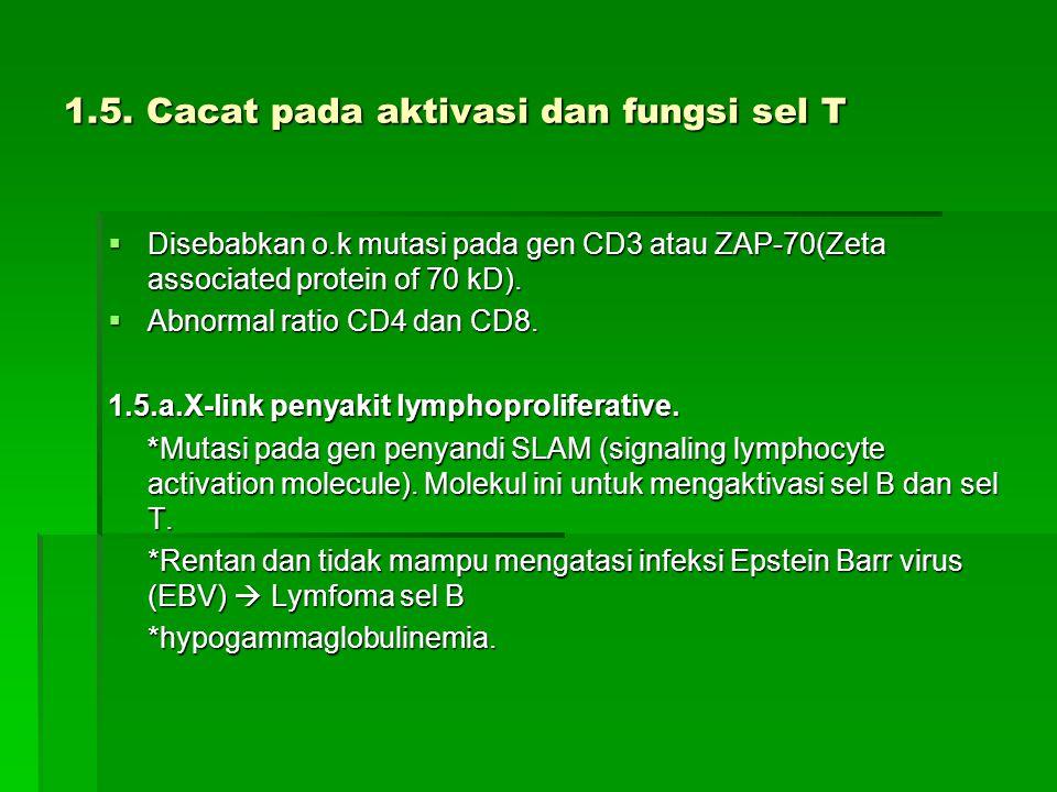 1.5. Cacat pada aktivasi dan fungsi sel T  Disebabkan o.k mutasi pada gen CD3 atau ZAP-70(Zeta associated protein of 70 kD).  Abnormal ratio CD4 dan