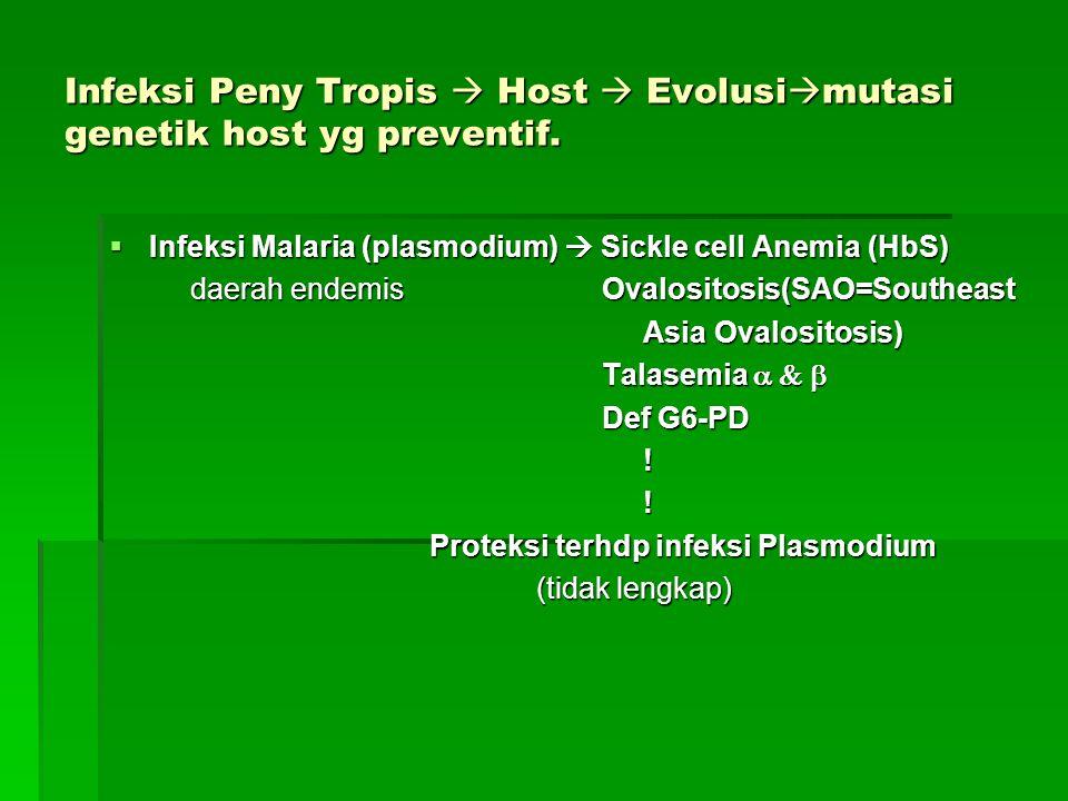 Infeksi Peny Tropis  Host  Evolusi  mutasi genetik host yg preventif.