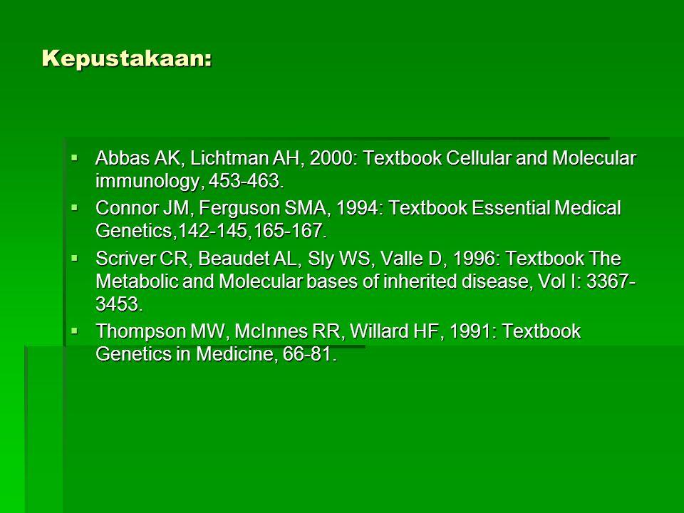 Kepustakaan:  Abbas AK, Lichtman AH, 2000: Textbook Cellular and Molecular immunology, 453-463.  Connor JM, Ferguson SMA, 1994: Textbook Essential M