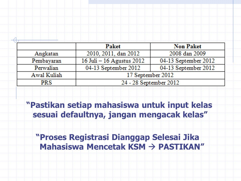 Pastikan setiap mahasiswa untuk input kelas sesuai defaultnya, jangan mengacak kelas Proses Registrasi Dianggap Selesai Jika Mahasiswa Mencetak KSM  PASTIKAN