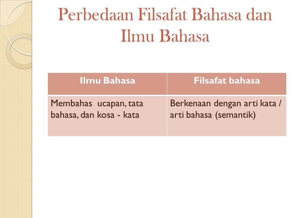 Perbedaan Filsafat Bahasa dan Ilmu Bahasa Ilmu BahasaFilsafat bahasa Membahas ucapan, tata bahasa, dan kosa - kata Berkenaan dengan arti kata / arti b