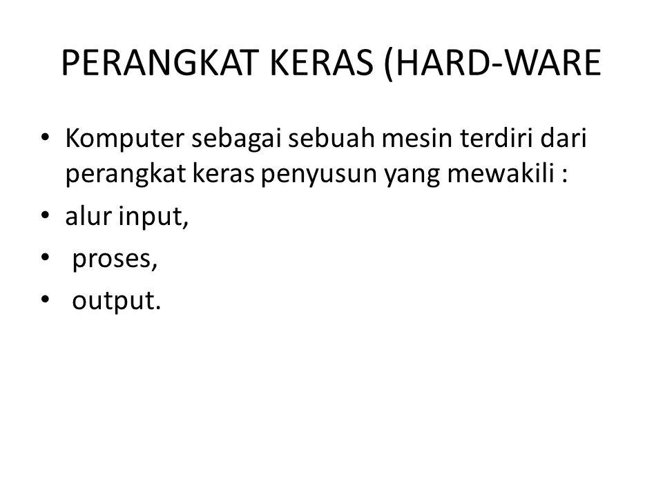 PERANGKAT KERAS (HARD-WARE Komputer sebagai sebuah mesin terdiri dari perangkat keras penyusun yang mewakili : alur input, proses, output.
