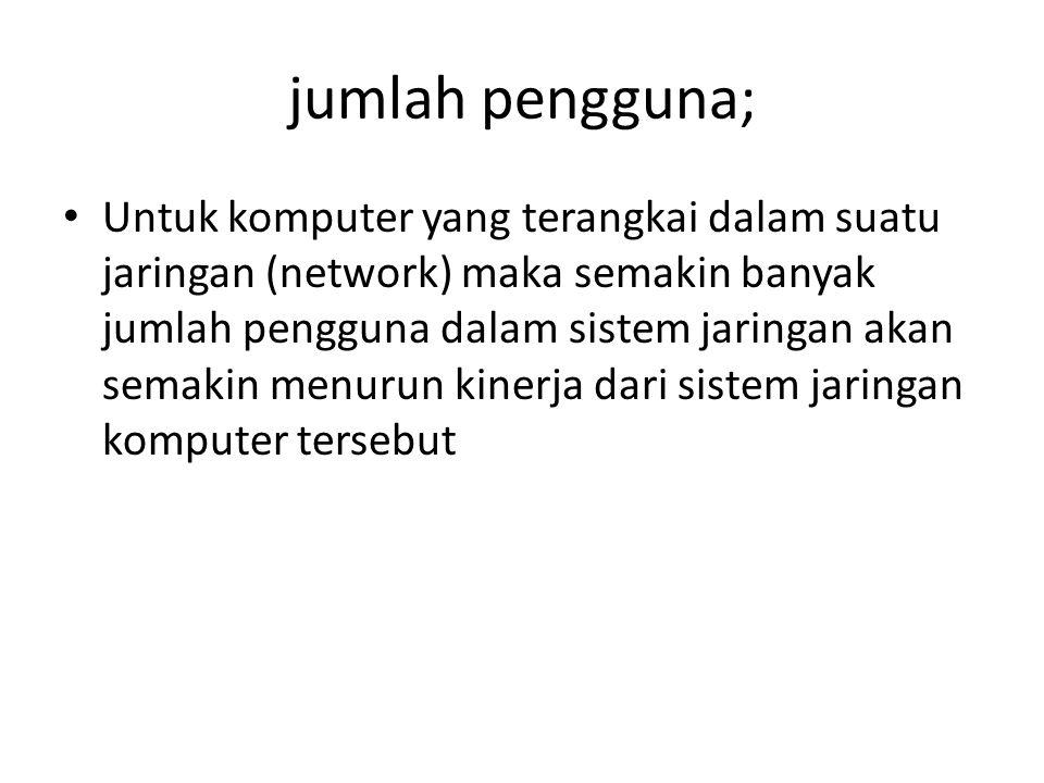 jumlah pengguna; Untuk komputer yang terangkai dalam suatu jaringan (network) maka semakin banyak jumlah pengguna dalam sistem jaringan akan semakin menurun kinerja dari sistem jaringan komputer tersebut