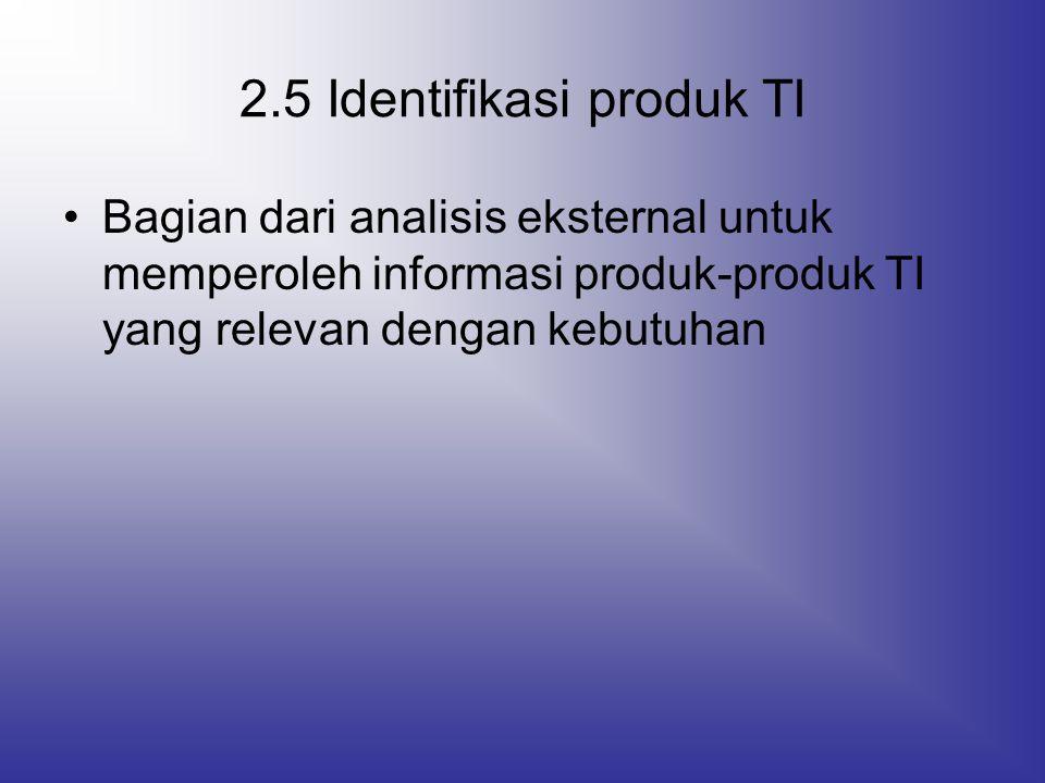 2.5 Identifikasi produk TI Bagian dari analisis eksternal untuk memperoleh informasi produk-produk TI yang relevan dengan kebutuhan