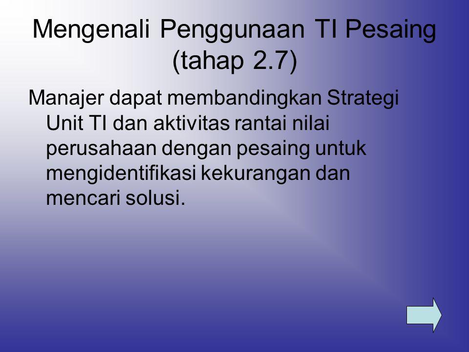 Mengenali Penggunaan TI Pesaing (tahap 2.7) Manajer dapat membandingkan Strategi Unit TI dan aktivitas rantai nilai perusahaan dengan pesaing untuk me