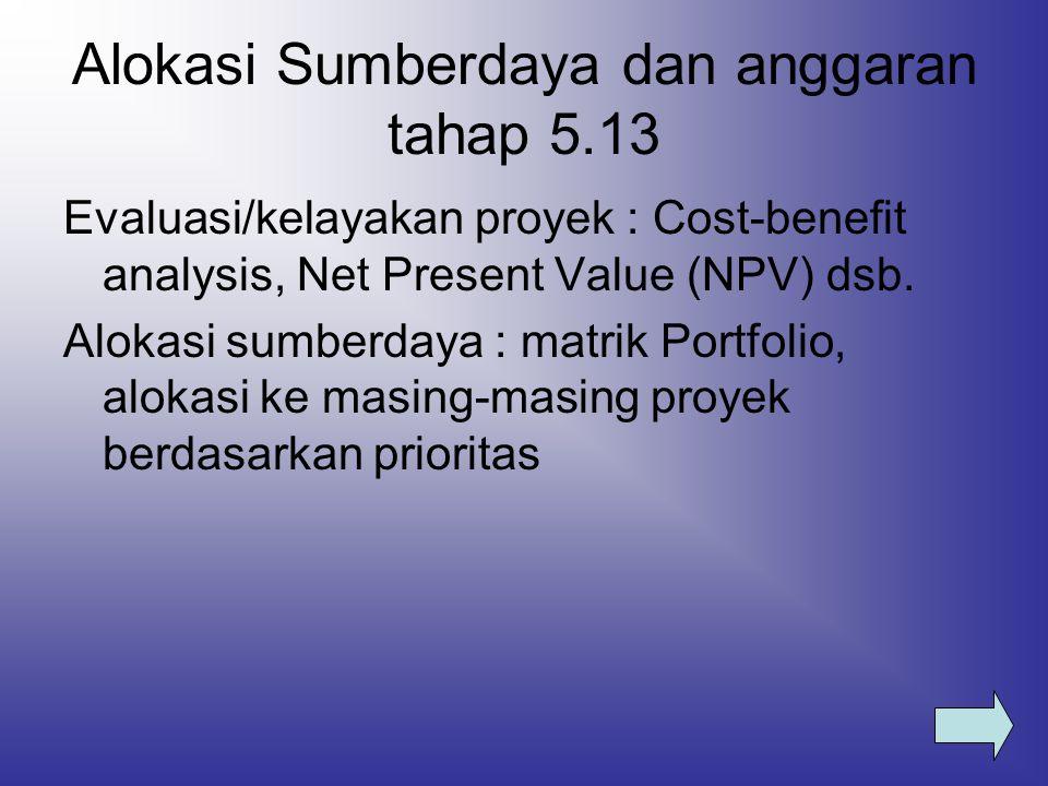 Alokasi Sumberdaya dan anggaran tahap 5.13 Evaluasi/kelayakan proyek : Cost-benefit analysis, Net Present Value (NPV) dsb. Alokasi sumberdaya : matrik