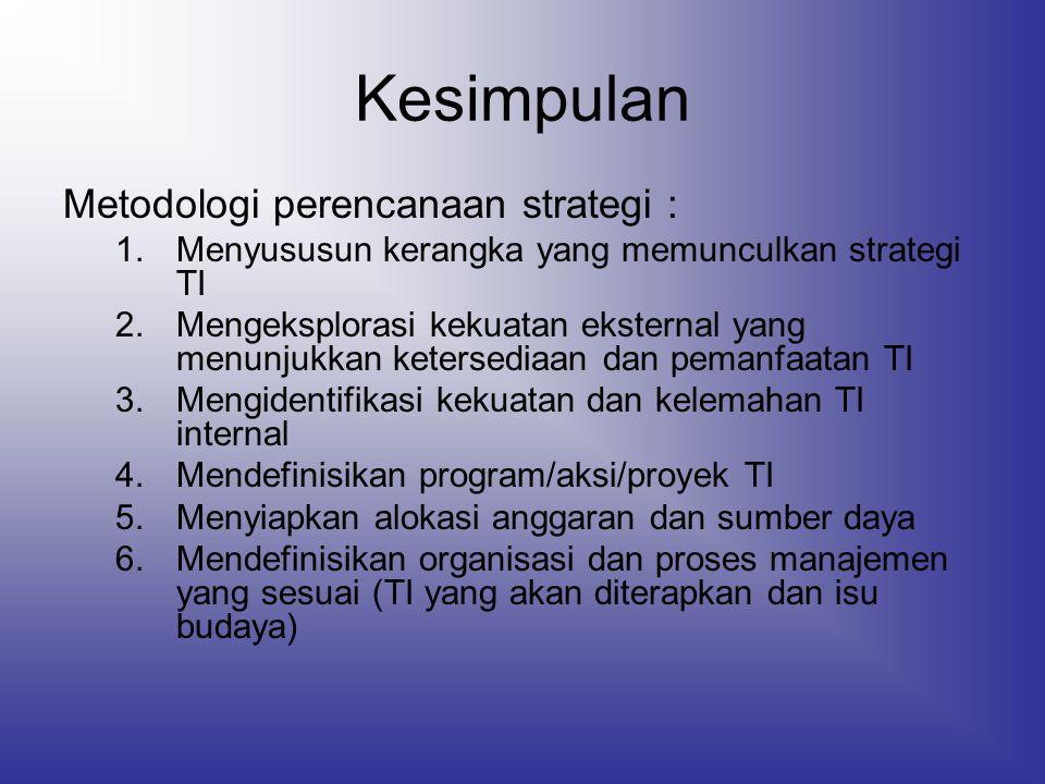 Kesimpulan Metodologi perencanaan strategi : 1.Menyususun kerangka yang memunculkan strategi TI 2.Mengeksplorasi kekuatan eksternal yang menunjukkan k