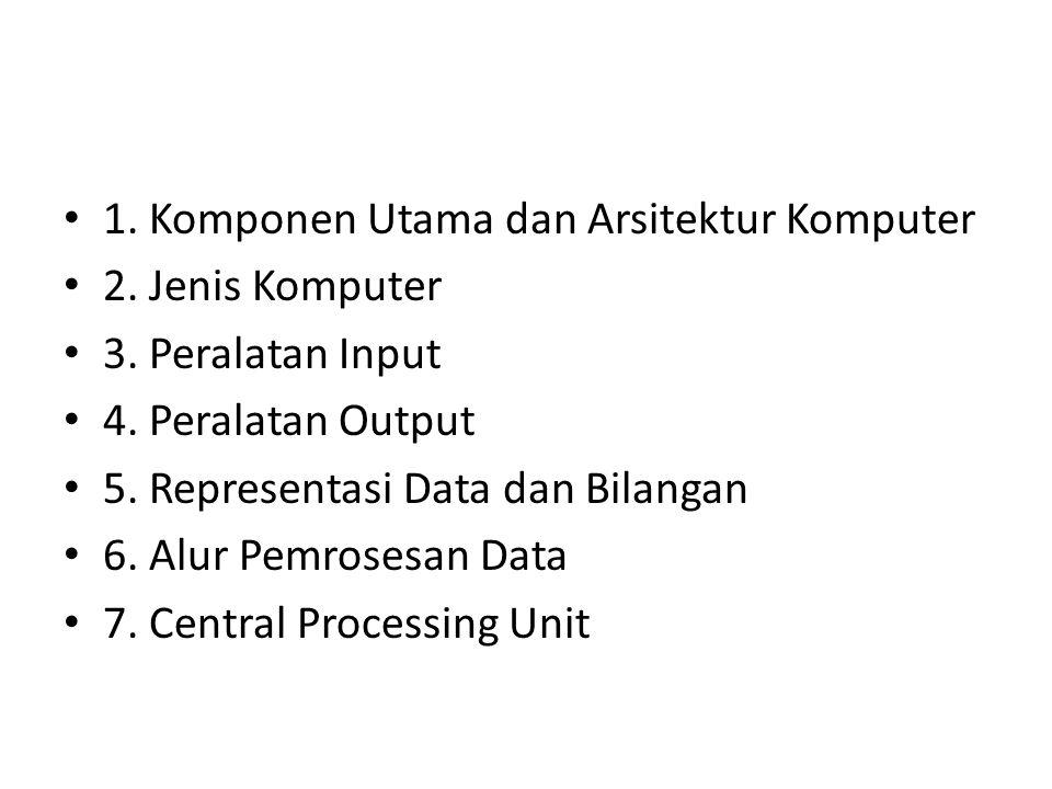 1. Komponen Utama dan Arsitektur Komputer 2. Jenis Komputer 3. Peralatan Input 4. Peralatan Output 5. Representasi Data dan Bilangan 6. Alur Pemrosesa