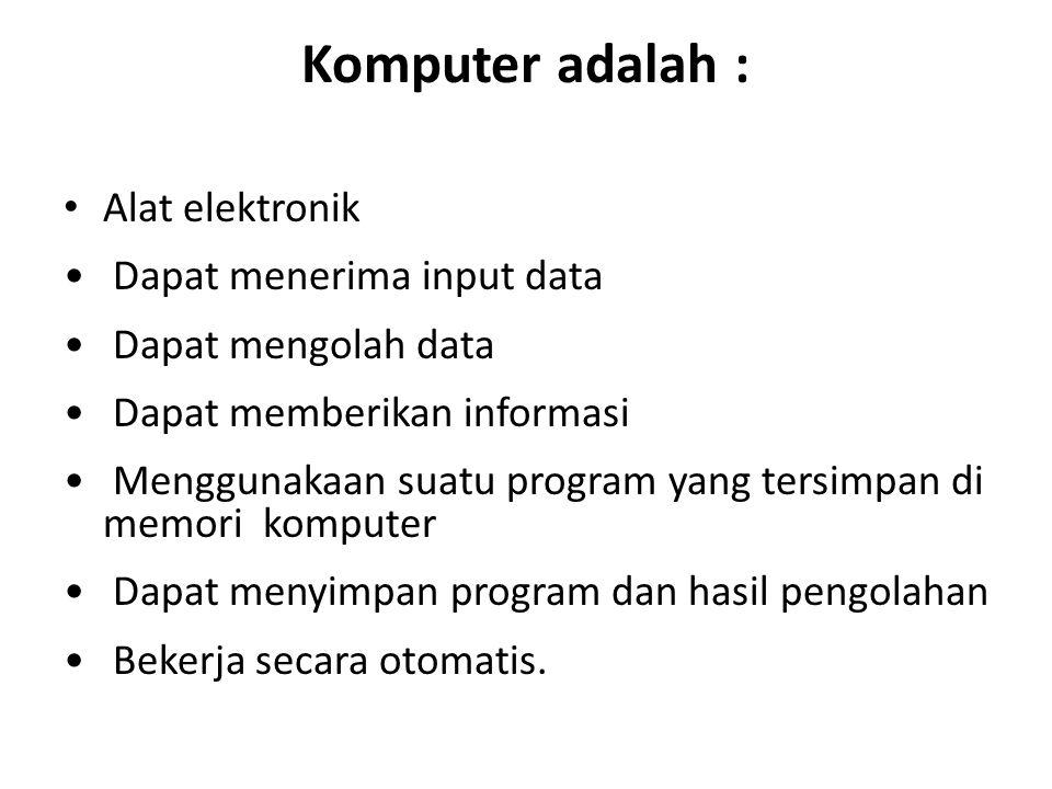 Komputer adalah : Alat elektronik Dapat menerima input data Dapat mengolah data Dapat memberikan informasi Menggunakaan suatu program yang tersimpan d