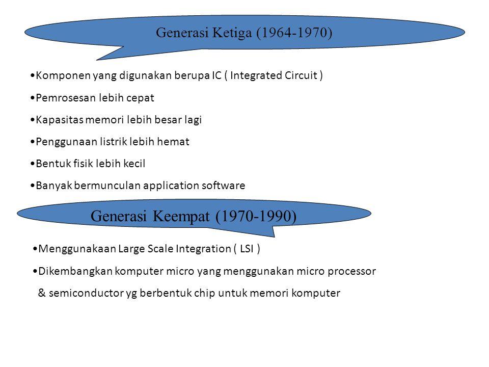 Generasi Ketiga (1964-1970) Komponen yang digunakan berupa IC ( Integrated Circuit ) Pemrosesan lebih cepat Kapasitas memori lebih besar lagi Pengguna