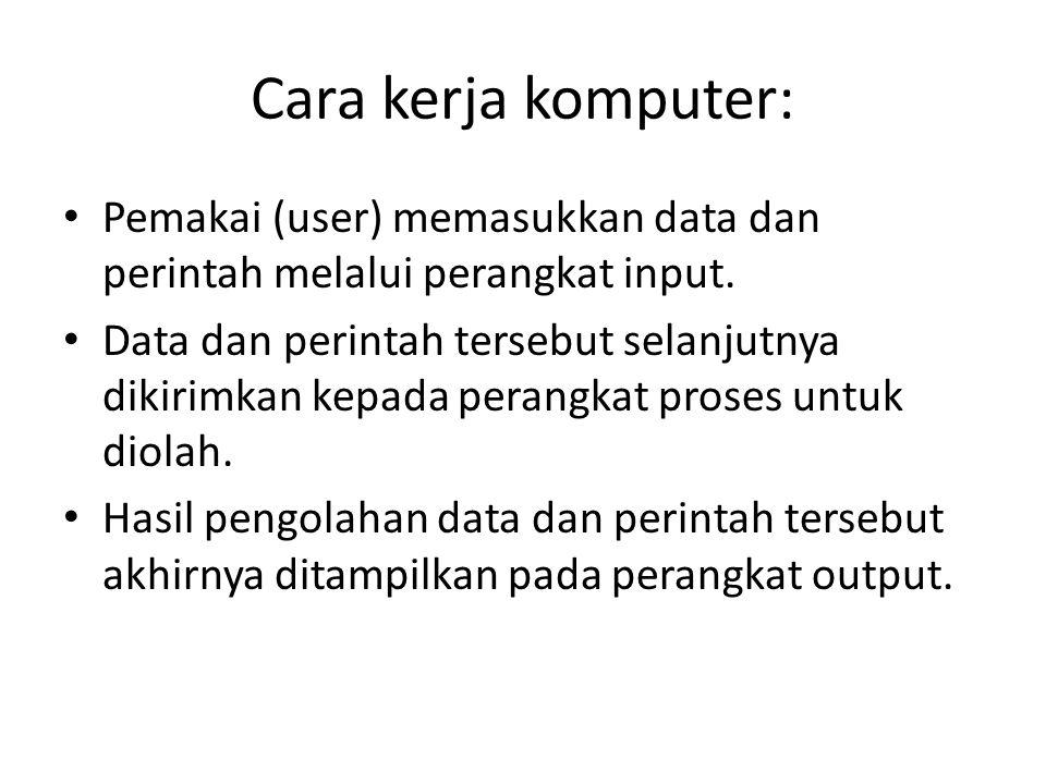 Cara kerja komputer: Pemakai (user) memasukkan data dan perintah melalui perangkat input. Data dan perintah tersebut selanjutnya dikirimkan kepada per