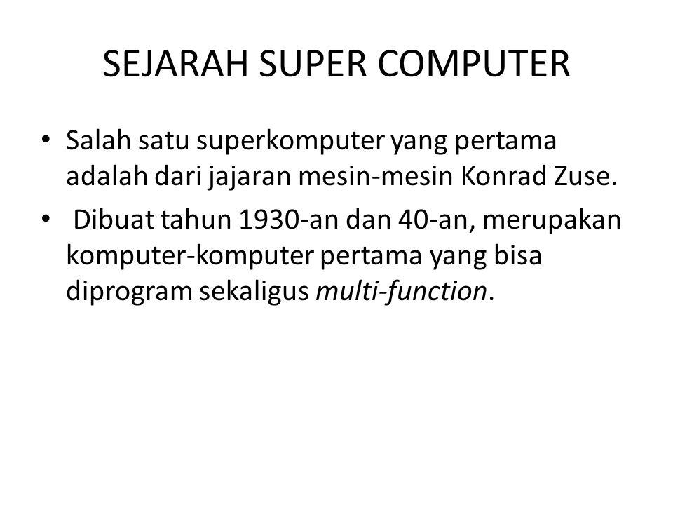 Daftar superkomputer yang pernah menjadi yang paling kencang di muka bumi : * IBM Roadrunner (sejak Juni 2008) * IBM Blue Gene/L (November 2004 – Juni 2008) * NEC Earth Simulator (Juni 2002 – November 2004) * IBM ASCI White (November 2000 – Juni 2002) * Intel ASCI Red (Juni 1997 – November 2000) * Hitachi CP-PACS (November 1996 – Juni 1997) * Hitachi SR2201 (Juni 1996 – November 1996) * Fujitsu Numerical Wind Tunnel (November 1994 – Juni 1996) * Intel Paragon XP/S140 (Juni 1994 – november 1994) * Fujitsu Numerical Wind Tunnel (November 1993 – Juni 1994) * TMC CM-5 (Juni 1993 – November 1993)