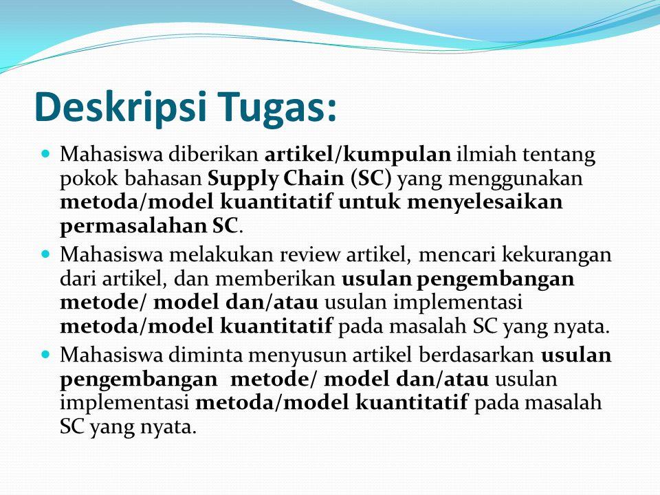 Deskripsi Tugas: Mahasiswa diberikan artikel/kumpulan ilmiah tentang pokok bahasan Supply Chain (SC) yang menggunakan metoda/model kuantitatif untuk m