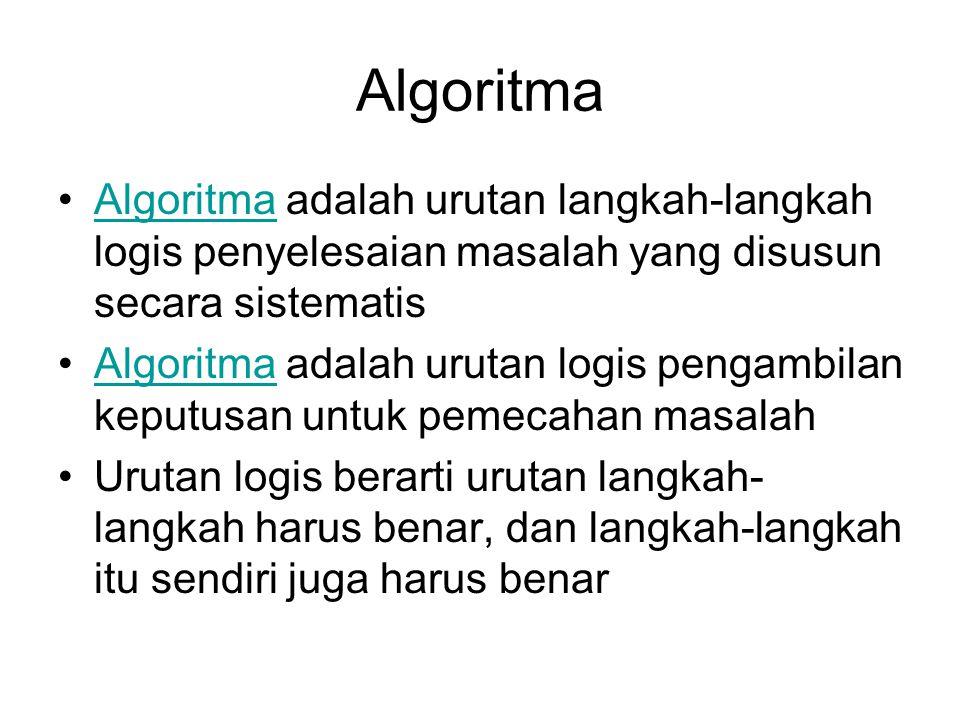 Algoritma Algoritma adalah urutan langkah-langkah logis penyelesaian masalah yang disusun secara sistematisAlgoritma Algoritma adalah urutan logis pen