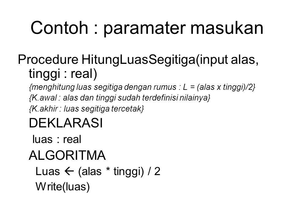 Contoh : paramater masukan Procedure HitungLuasSegitiga(input alas, tinggi : real) {menghitung luas segitiga dengan rumus : L = (alas x tinggi)/2} {K.