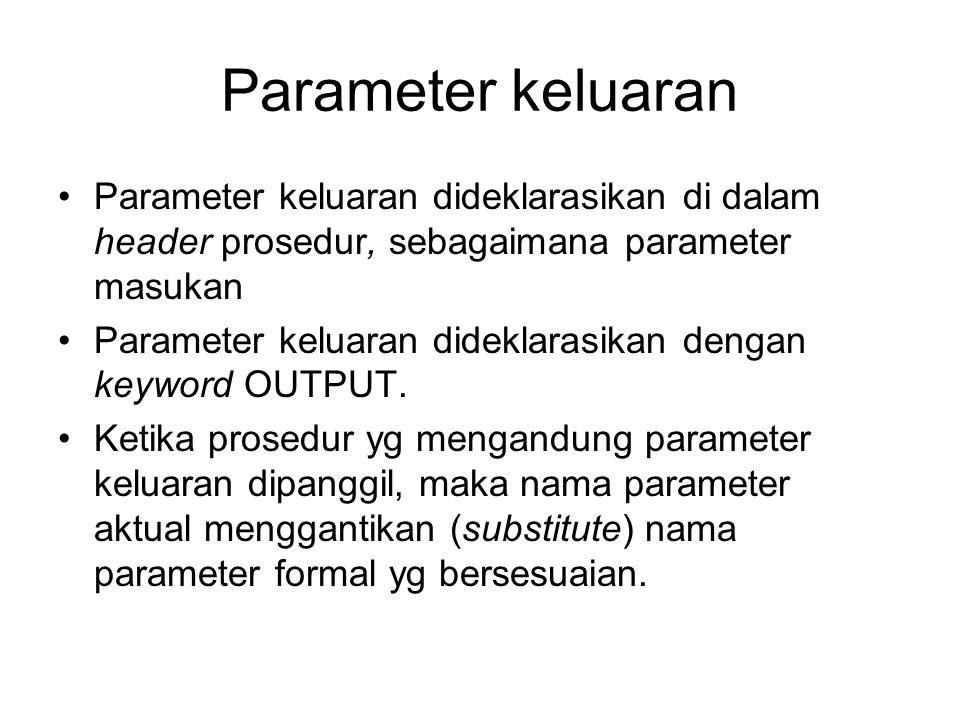 Parameter keluaran Parameter keluaran dideklarasikan di dalam header prosedur, sebagaimana parameter masukan Parameter keluaran dideklarasikan dengan
