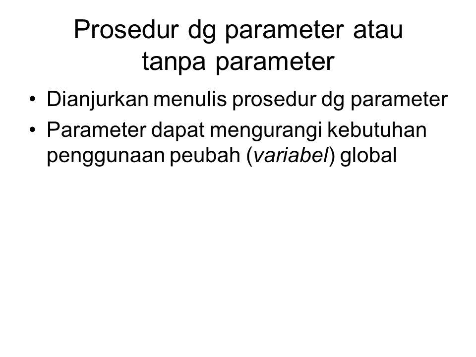Prosedur dg parameter atau tanpa parameter Dianjurkan menulis prosedur dg parameter Parameter dapat mengurangi kebutuhan penggunaan peubah (variabel)