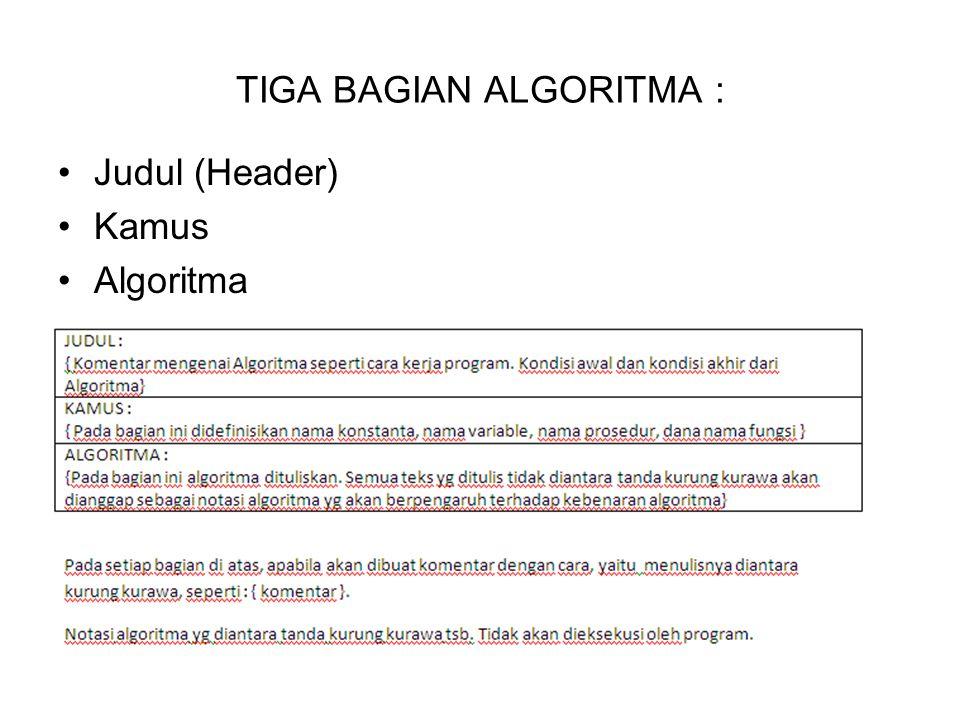 TIGA BAGIAN ALGORITMA : Judul (Header) Kamus Algoritma