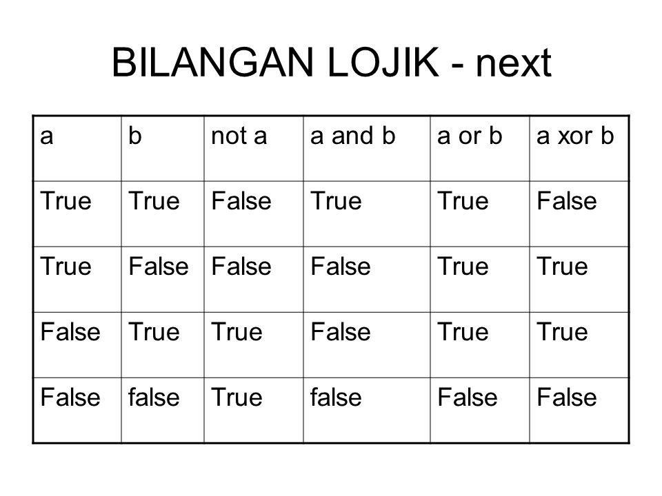 BILANGAN LOJIK - next abnot aa and ba or ba xor b True FalseTrue False TrueFalse True FalseTrue FalseTrue FalsefalseTruefalseFalse