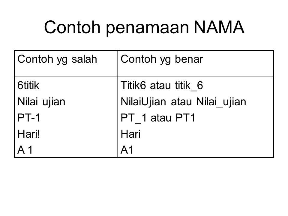 Contoh penamaan NAMA Contoh yg salahContoh yg benar 6titik Nilai ujian PT-1 Hari! A 1 Titik6 atau titik_6 NilaiUjian atau Nilai_ujian PT_1 atau PT1 Ha