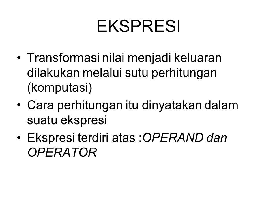 EKSPRESI Transformasi nilai menjadi keluaran dilakukan melalui sutu perhitungan (komputasi) Cara perhitungan itu dinyatakan dalam suatu ekspresi Ekspr