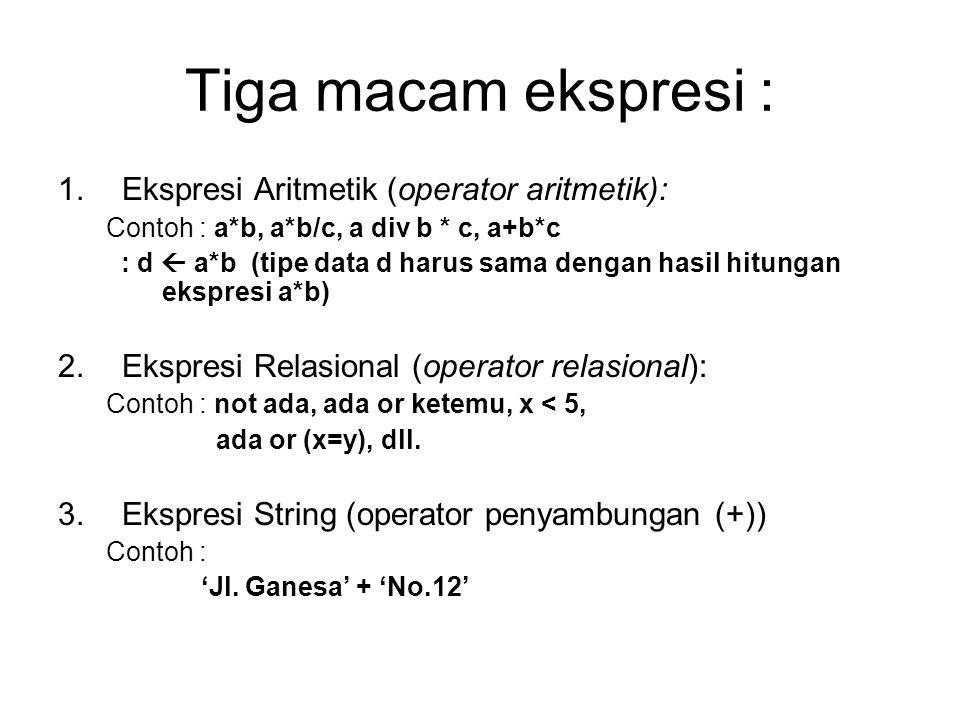 Tiga macam ekspresi : 1.Ekspresi Aritmetik (operator aritmetik): Contoh : a*b, a*b/c, a div b * c, a+b*c : d  a*b (tipe data d harus sama dengan hasi