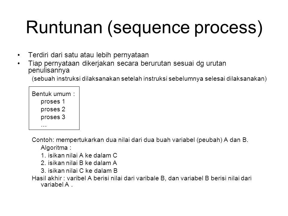 Runtunan (sequence process) Terdiri dari satu atau lebih pernyataan Tiap pernyataan dikerjakan secara berurutan sesuai dg urutan penulisannya (sebuah