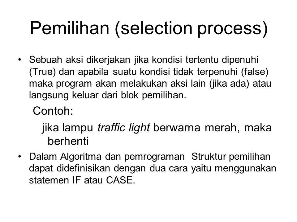 Pemilihan (selection process) Sebuah aksi dikerjakan jika kondisi tertentu dipenuhi (True) dan apabila suatu kondisi tidak terpenuhi (false) maka prog