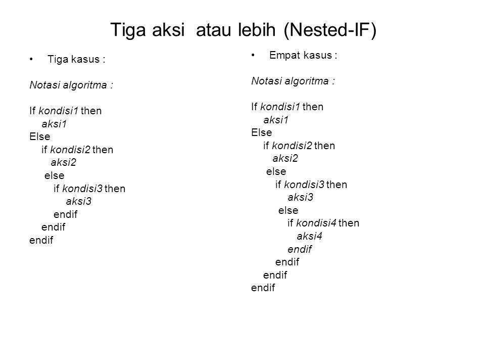 Tiga aksi atau lebih (Nested-IF) Tiga kasus : Notasi algoritma : If kondisi1 then aksi1 Else if kondisi2 then aksi2 else if kondisi3 then aksi3 endif