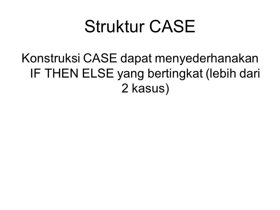Struktur CASE Konstruksi CASE dapat menyederhanakan IF THEN ELSE yang bertingkat (lebih dari 2 kasus)