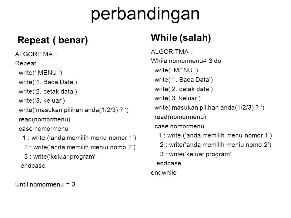 perbandingan Repeat ( benar) ALGORITMA : Repeat write(' MENU ') write('1. Baca Data') write('2. cetak data') write('3. keluar') write('masukan pilihan
