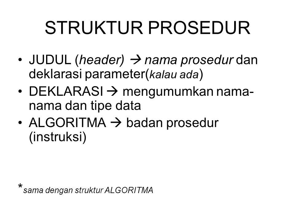 STRUKTUR PROSEDUR JUDUL (header)  nama prosedur dan deklarasi parameter( kalau ada ) DEKLARASI  mengumumkan nama- nama dan tipe data ALGORITMA  bad