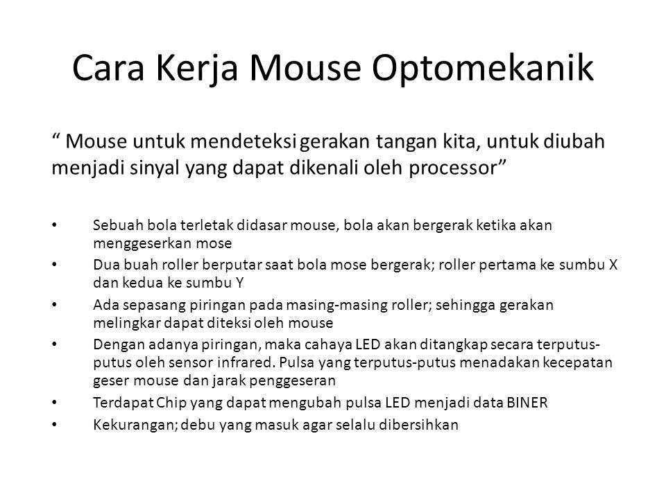Cara Kerja Mouse Optomekanik Sebuah bola terletak didasar mouse, bola akan bergerak ketika akan menggeserkan mose Dua buah roller berputar saat bola m