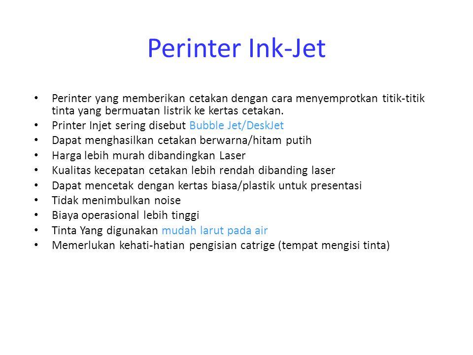 Perinter Ink-Jet Perinter yang memberikan cetakan dengan cara menyemprotkan titik-titik tinta yang bermuatan listrik ke kertas cetakan. Printer Injet