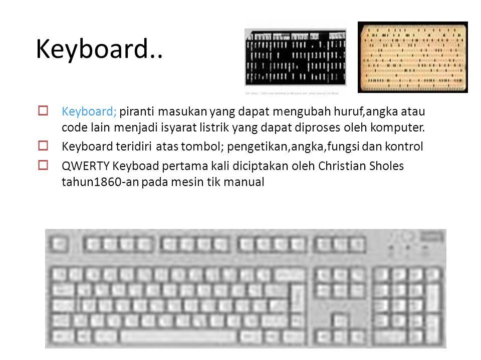 Keyboard..  Keyboard; piranti masukan yang dapat mengubah huruf,angka atau code lain menjadi isyarat listrik yang dapat diproses oleh komputer.  Key