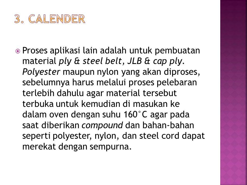  Proses aplikasi lain adalah untuk pembuatan material ply & steel belt, JLB & cap ply. Polyester maupun nylon yang akan diproses, sebelumnya harus me