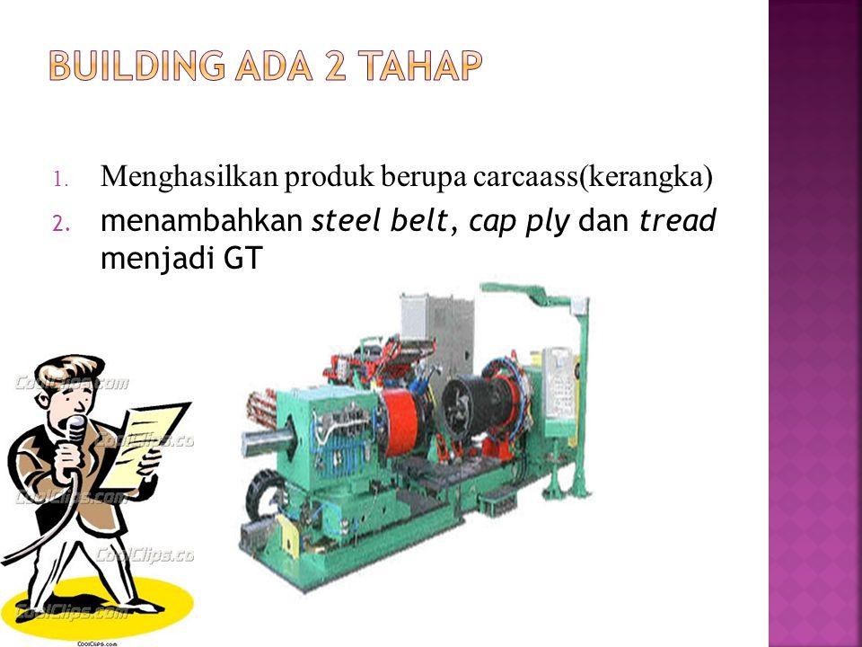 1. Menghasilkan produk berupa carcaass(kerangka) 2. menambahkan steel belt, cap ply dan tread menjadi GT